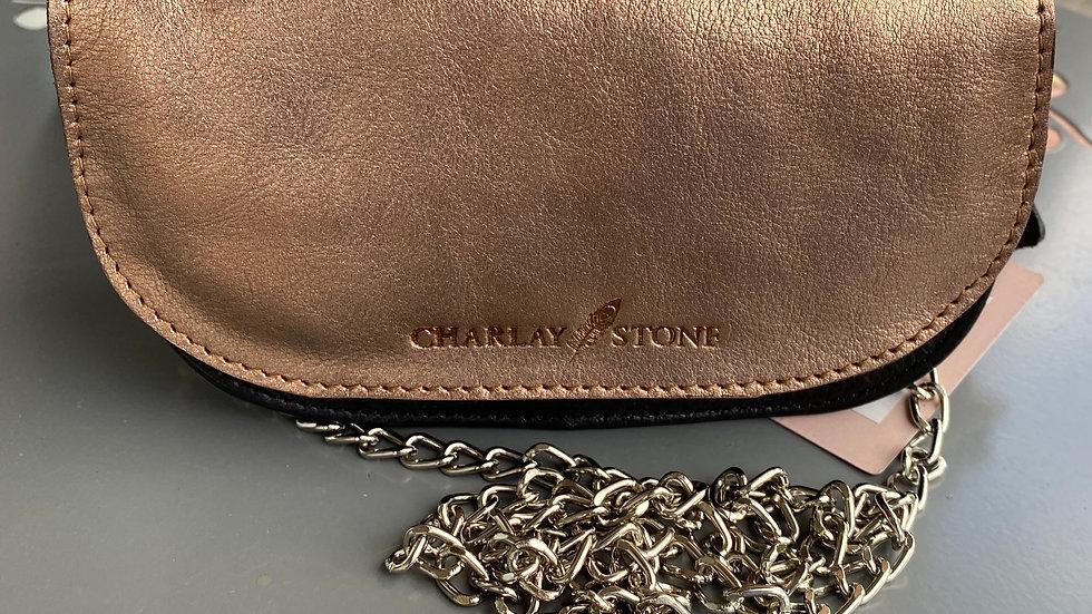 Sac Cuir Black/Bronze façon mini Charlay Stone