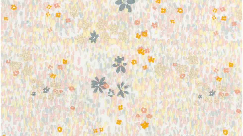 TOILE,GRIS,CHAMP DE  FLEURS,METALLIQUE x 50 cm