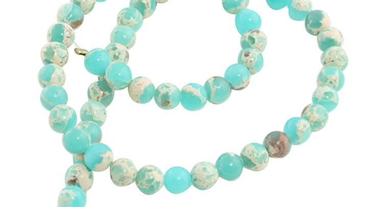 Perle Ronde Agalmatolite 6mm Turquoise