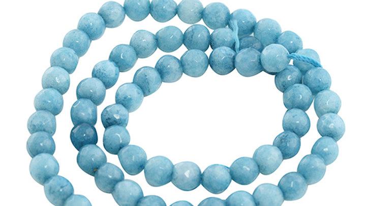 Perle Ronde Agate Facettée 6mm Aquamarine sur fil +/- 60 pièces