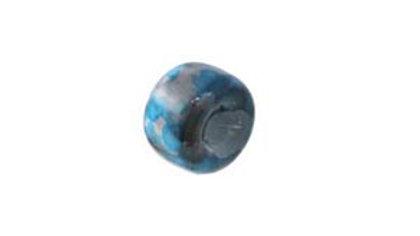 Perle verre pastille interc. 6mm Bleu F. marbré