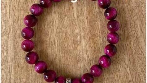 Bracelet pierres naturelles Oel du tigre fushia