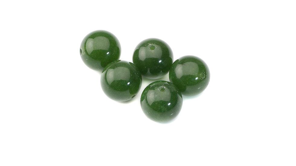 Perle Jade vert mousse ronde 12mm x1