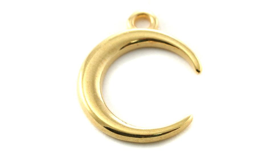 Pendentif 1/2 lune métal doré 17mm