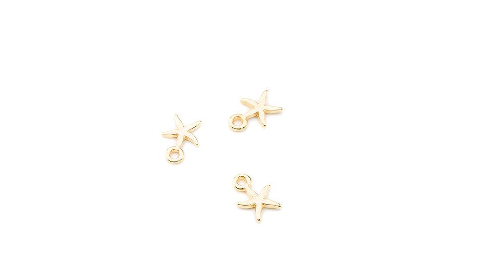 Pendentif petite étoile de mer 10mm doré x1pc