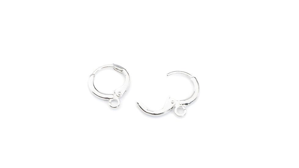 B.O. dormeuse ronde métal + anneau 11.5mm x 2