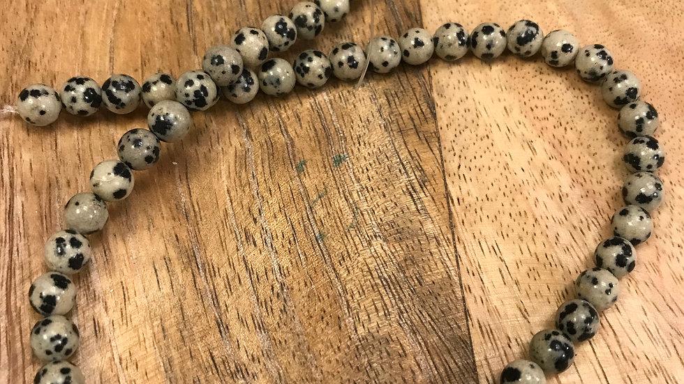 Jaspe Dalmatien A perles 6mm sur fil 40cm