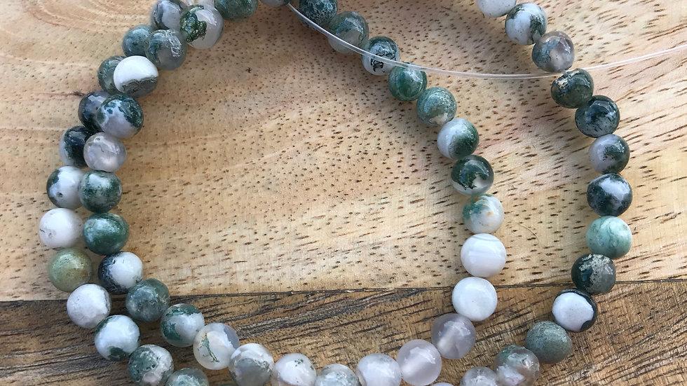 Agate Arbre A perles 6mm sur fil 40cm