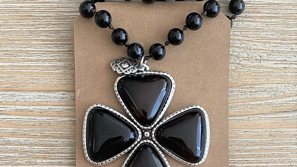 Collier Argent-Agate noire