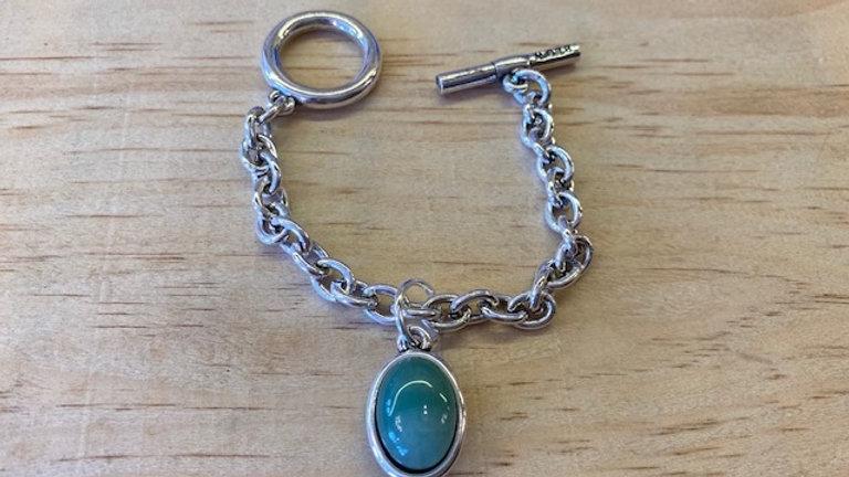 Bracelet Chaine Argent cabochon Aventurine