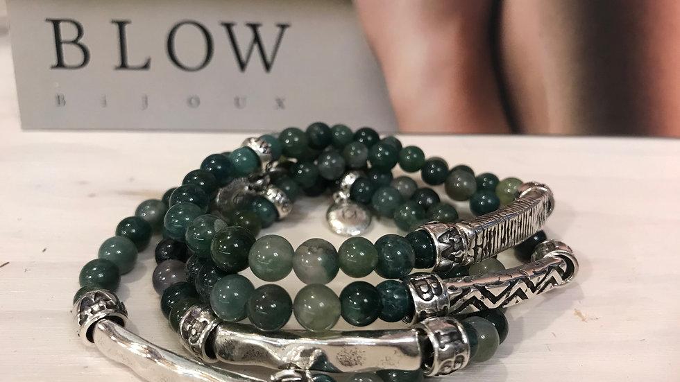 Bracelet pierres naturelles 6mm Agate Indienne x 1