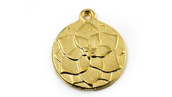 Breloque ronde métal Fleur Lotus