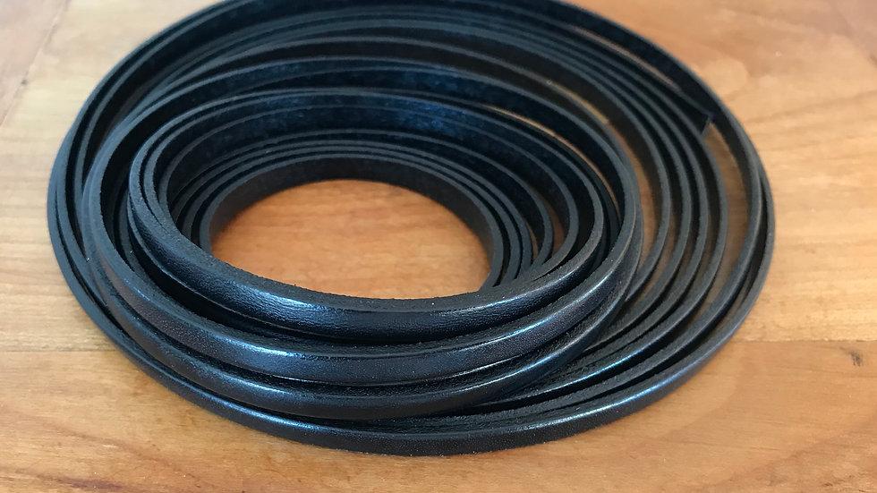 Cuir plat veau 5x2mm Noir x 10 cm