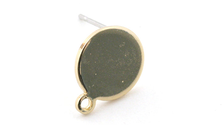Clous d'oreilles anneaux platx 10mm doré x 2