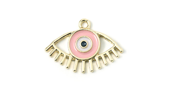 Oeil métal émaillé 23x15mm Rose