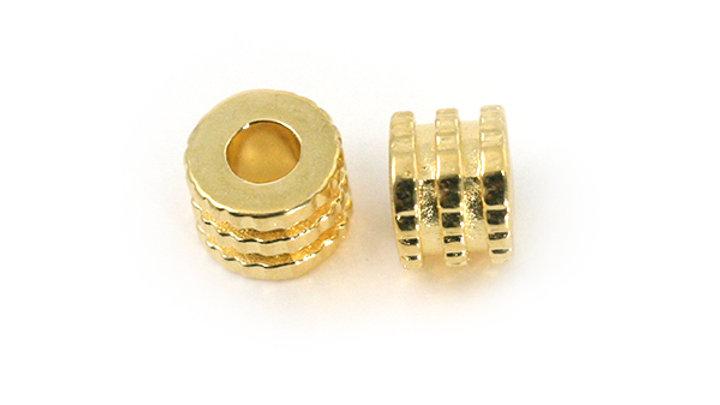 Tube double rondelle métal doré