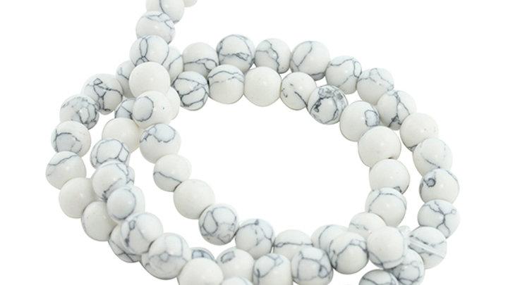 Perle Ronde Howlite 6mm Blanc