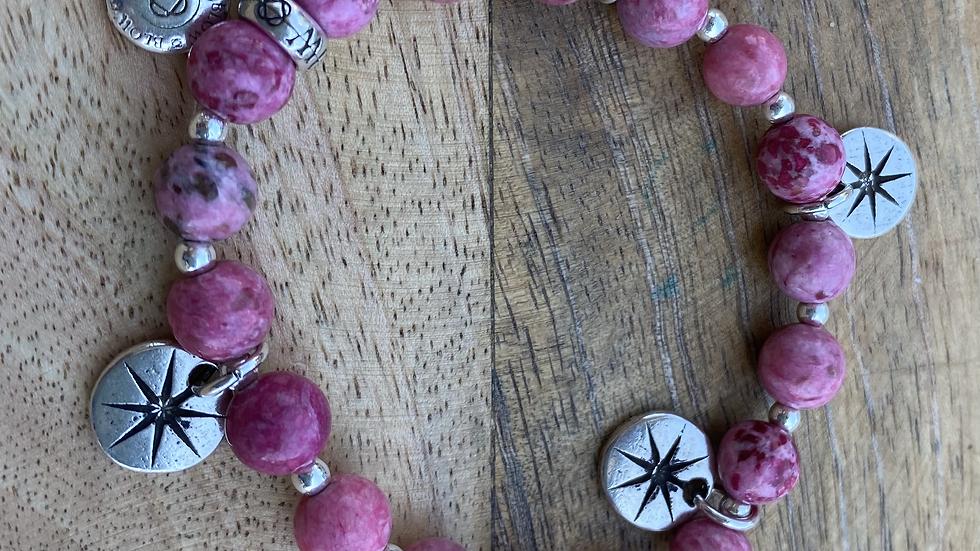 Bracelet élastique Stella Jaspe Rose