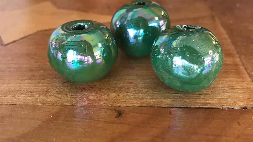 Ronde Céramique 22mm Vert Forêt émaillé