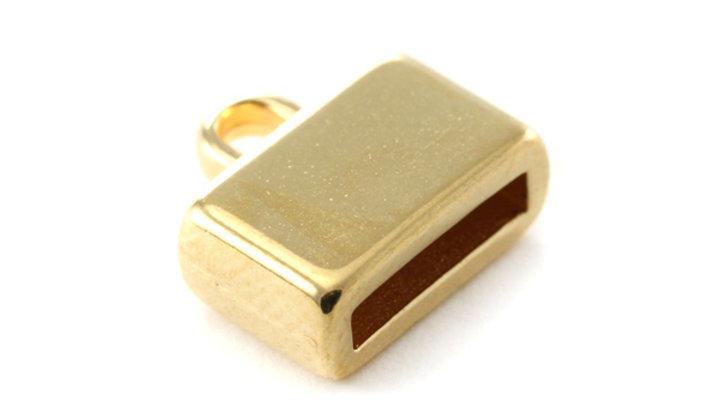 Embout Doré pour cuir lat 10mm 13x8x5mm x 1 pièce
