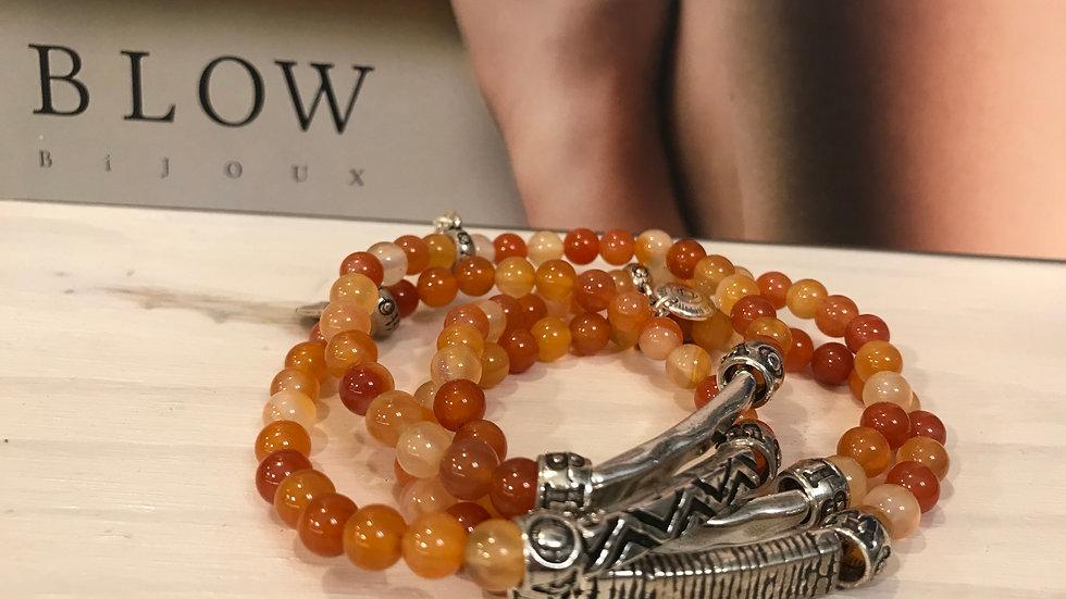 Bracelet pierres naturelles 6mm Cornaline Claire x 1
