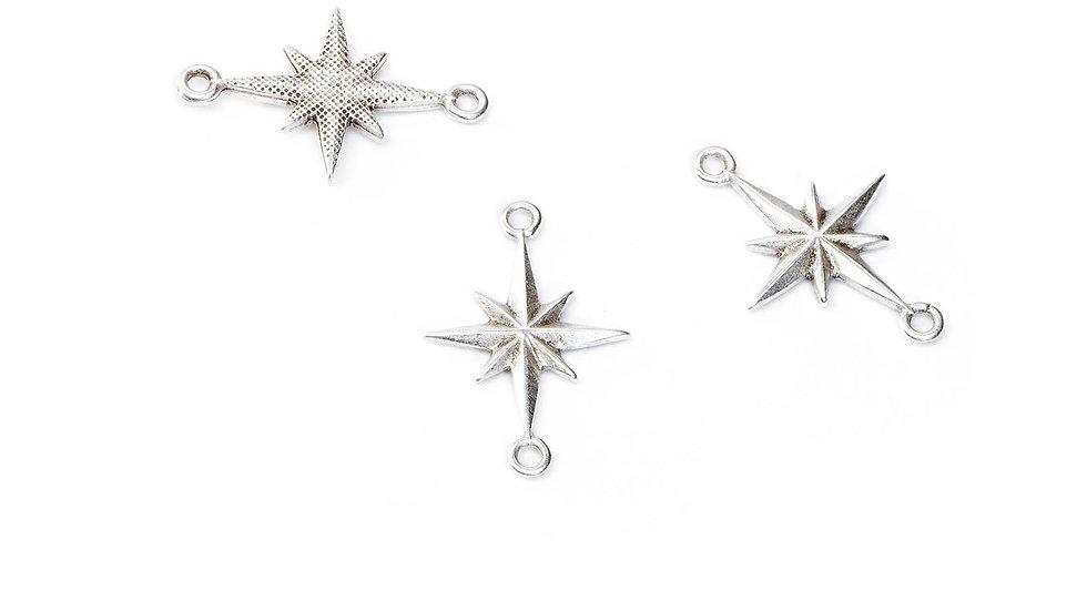 Connecteurs  étoile 2 anneaux 15x23mm argenté x1pièce
