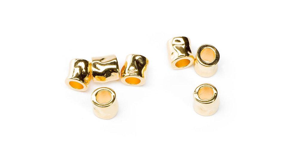 Perle tube martelé 7x7mm doré x1pièce