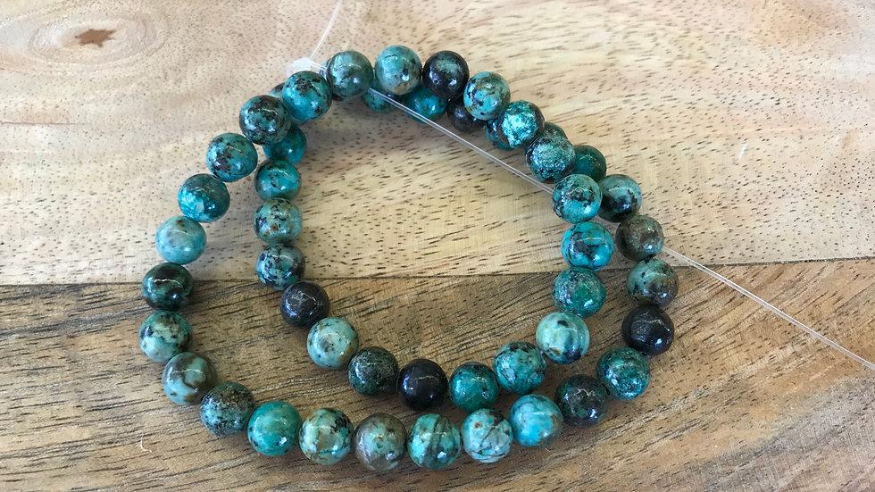 Turquoise naturelle d'Afrique A perles 8mm sur fil 40cm