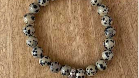 Bracelet pierres naturelles Jaspe Dalmatien