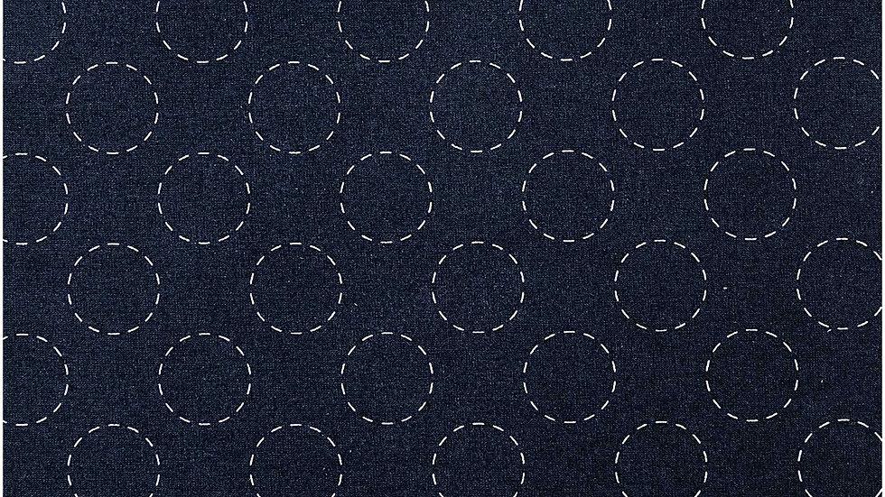 TOILE,BLEU FONCE,CERCLE,CREME x 50 cm
