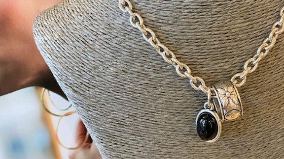Collier Chaine 42cm cabochon Agate noire