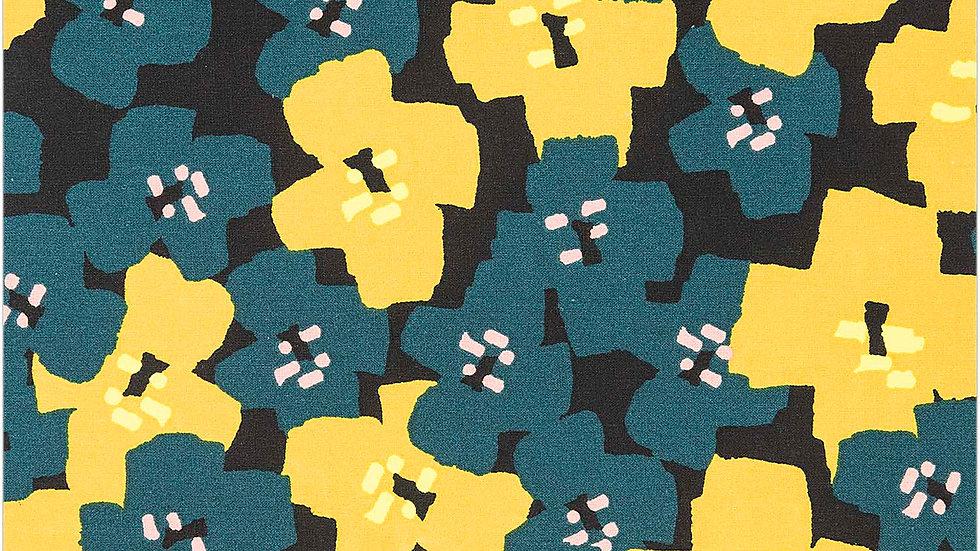 TOILE,NOIR,FLEURS,VERT,FLUO x 50 cm