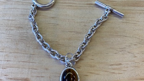 Bracelet Chaine Argent cabochon oeil du tigre