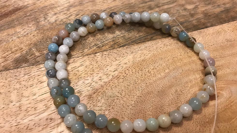 Amazonite multicolore perles 6mm sur fil 40cm
