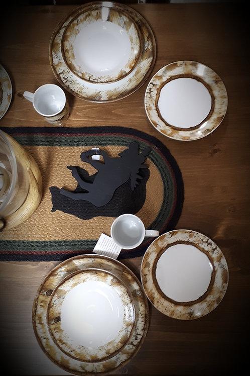 Hardwood Border Dinnerware Set for 4
