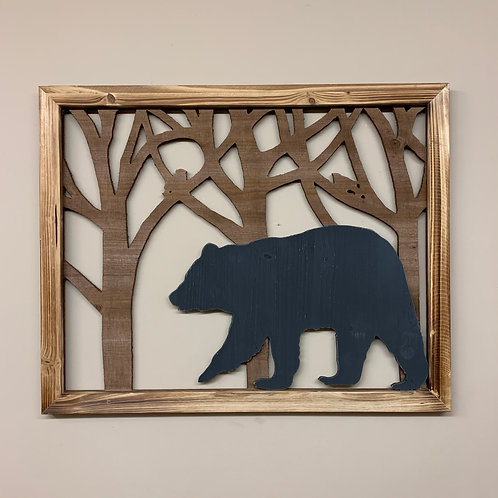 Wood Framed Bear in Forest Cut-Out Sign