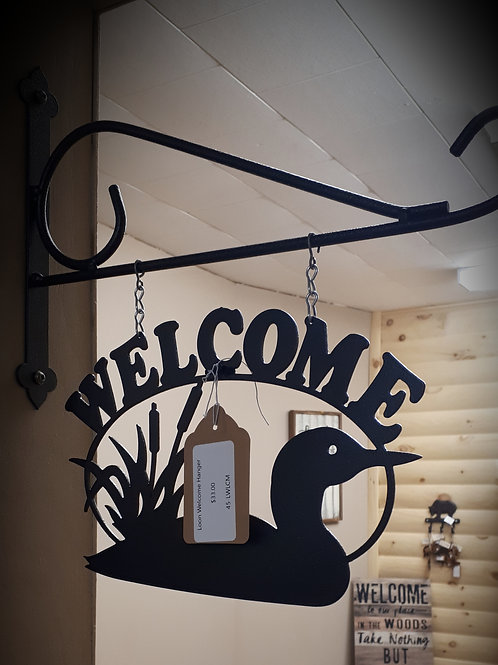 Metal Loon Welcome Hanger
