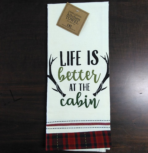 Cabin Rules Embellished Dish Towel