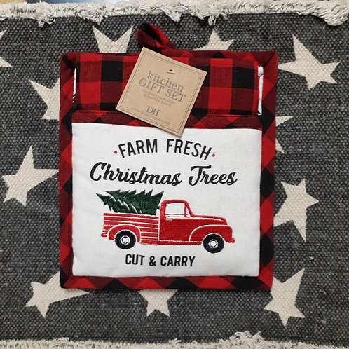 Farm Fresh Christmas Tress Potholder & Dishtowel Set