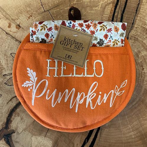 Hello Pumpkin Potholder Gift Set
