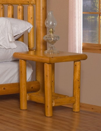 Mountain Lodge Log Open Night Stand/End Table