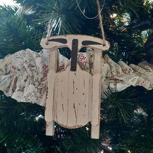 White Sled Ornament