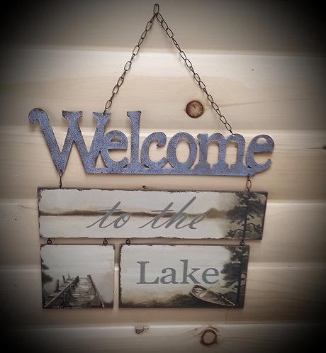 Tin/Wood Lake Plaque