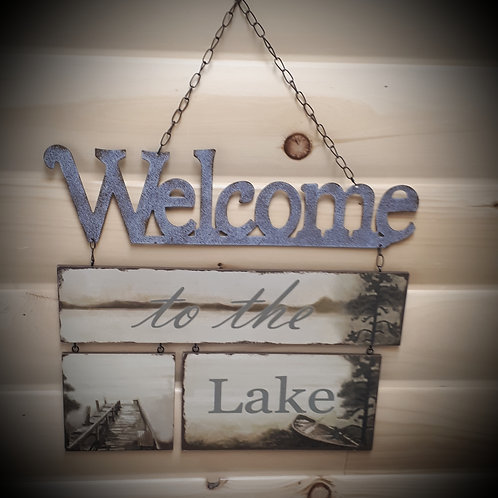 Tin/Wood Lake Plaque
