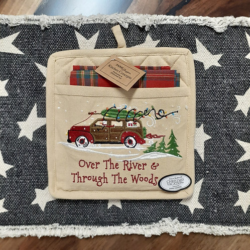 Over The River & Through The Woods Potholder & Dishtowel Set