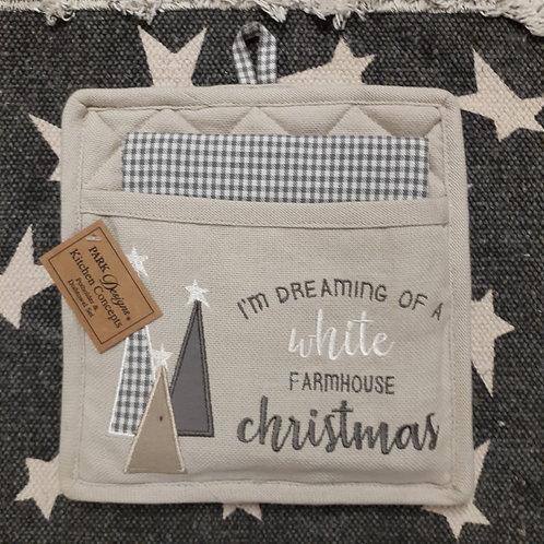White Christmas Potholder & Dishtowel Set