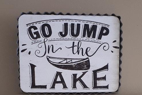 Wood Lake Sign with Waffle Tin