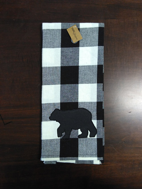 Wicklow Bear Creme Black Dish Towel