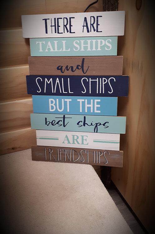 Wood Slat Coastal Friendship Sign