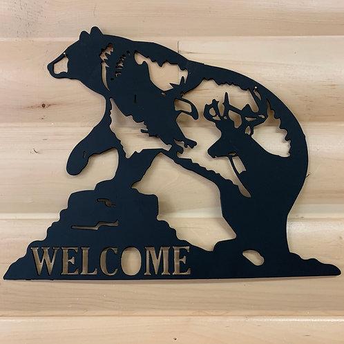 Welcome Metal Bear Sign